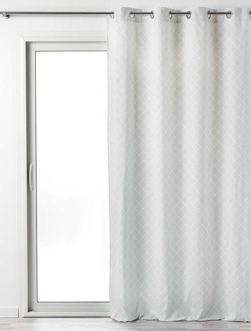 Rideau en coton imprimé lenon                                         blanc