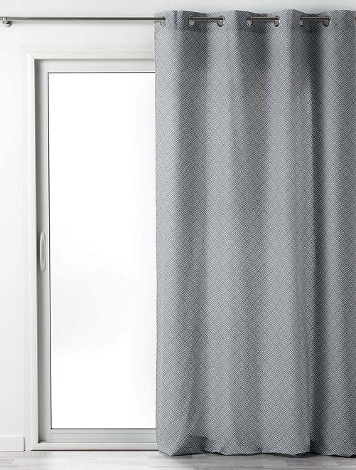 Rideau en coton imprimé lenon                                         gris