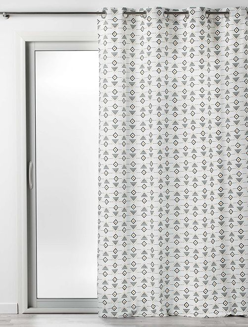 Rideau en coton imprimé letiko                                         blanc
