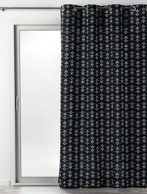 Rideau en coton imprimé letiko                                         noir