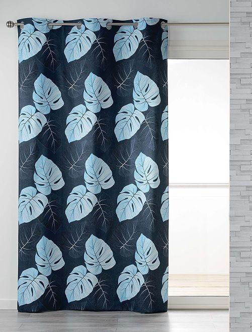 Rideau feuillage à œillets                             bleu Linge de lit
