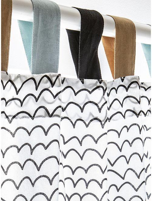 Rideau imprimé vagues                             blanc/noir