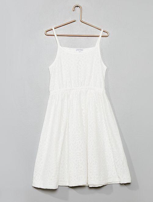 Robe à bretelles en dentelle                                         blanc