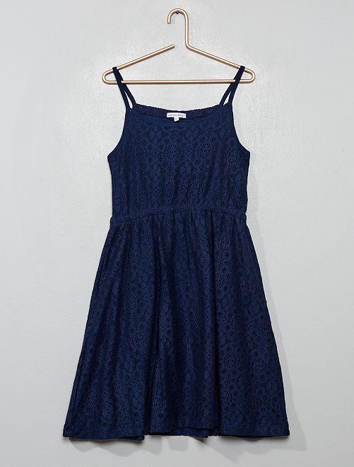 Robe à bretelles en dentelle                                         bleu