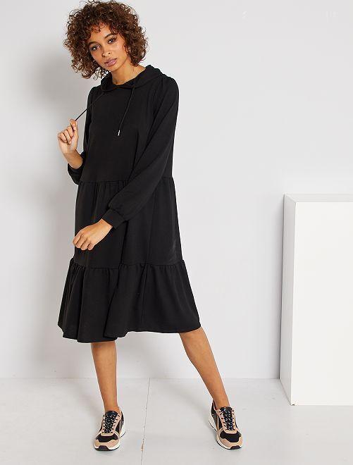 Robe à capuche à volants 'JDY'                             noir