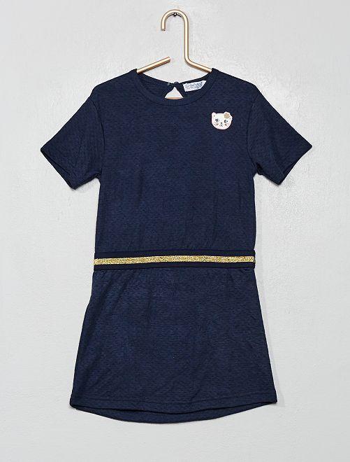 Robe à ceinture pailletée                             bleu marine