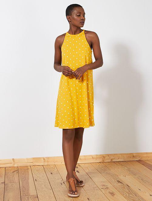 Robe à emmanchure américaine                                                                 jaune pois