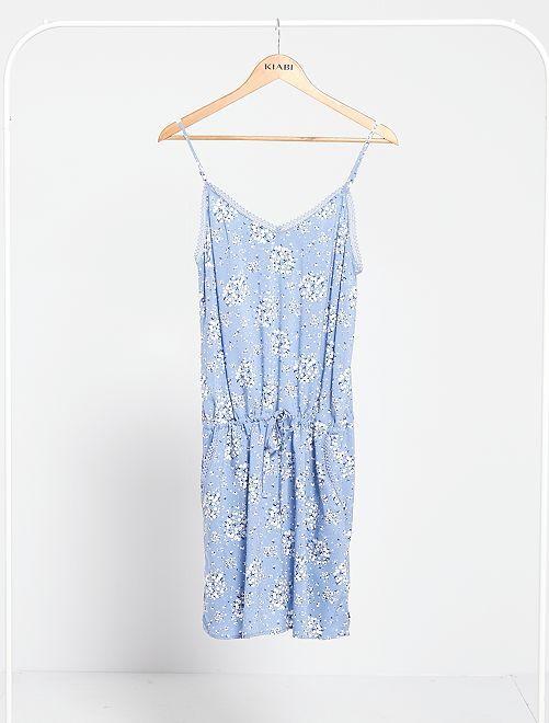 Robe à fines bretelles                                                         bleu fleurs