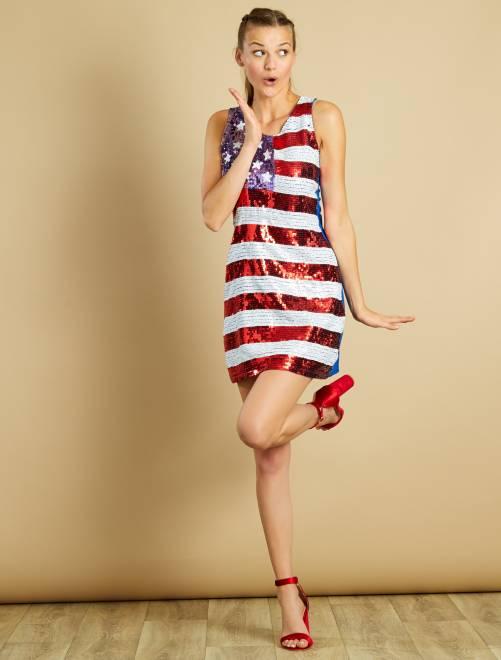 Robe à sequins motif drapeau américain                             rouge/blanc Femme