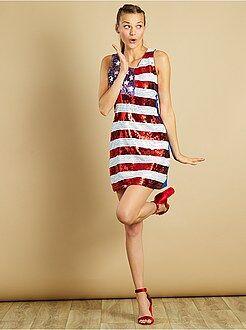 Déguisement femme - Robe à sequins motif drapeau américain - Kiabi
