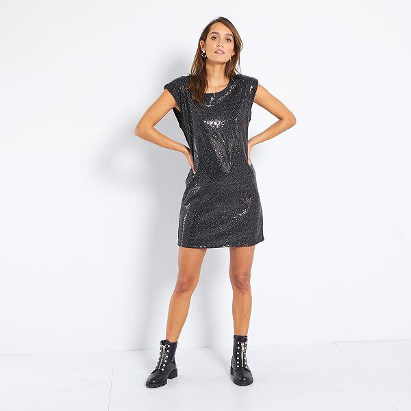 Robe A Sequins Femme Noir Kiabi 18 00