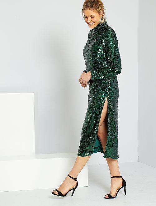 Robe à sequins                             vert