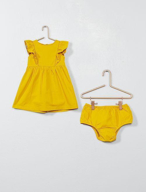 Robe à volants et culotte                                 jaune cury