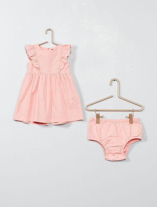 Robe à volants et culotte                                                     rose poudré Bébé fille