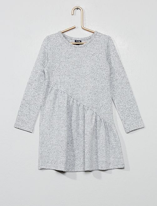 Robe asymétrique en maille                                                     gris chiné