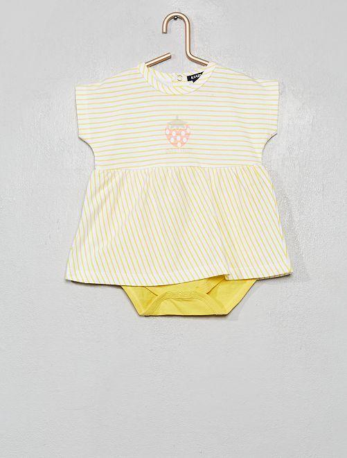 Robe avec body intégré                                         jaune/blanc