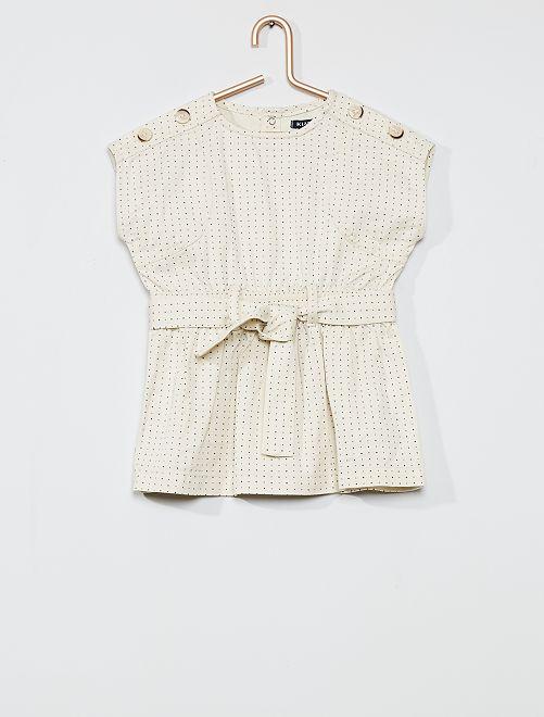 Robe avec ceinture à nouer                             blanc
