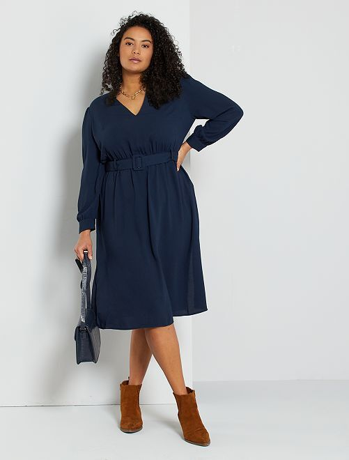Robe avec ceinture amovible                                         bleu marine
