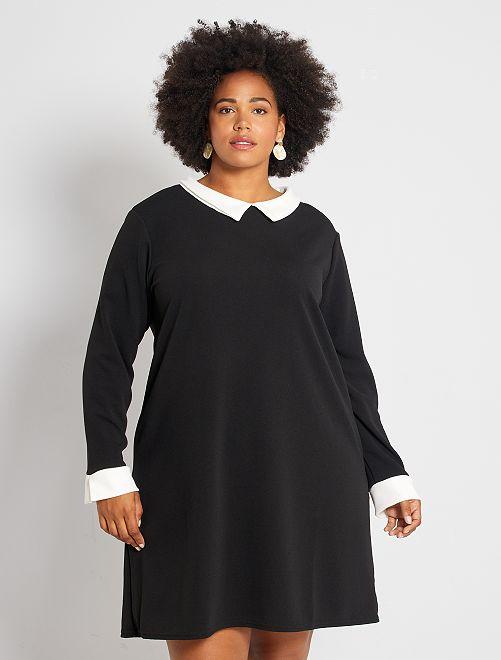 Robe avec col et manches contrastantes                             noir/écru