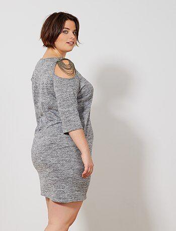 Grande taille femme - Robe avec épaules ouvertes et bijou - Kiabi d948c2050998