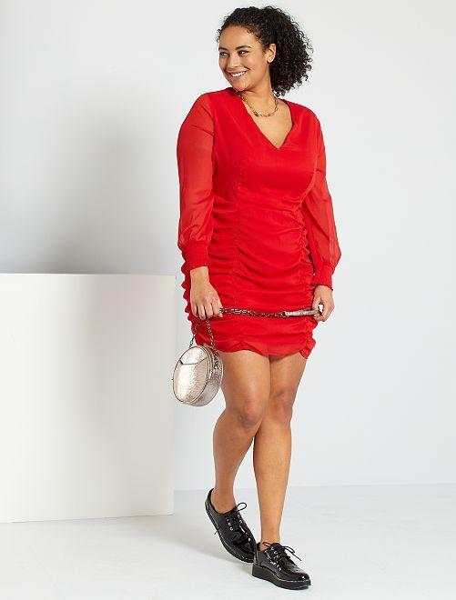 Robe avec fronces                                         rouge