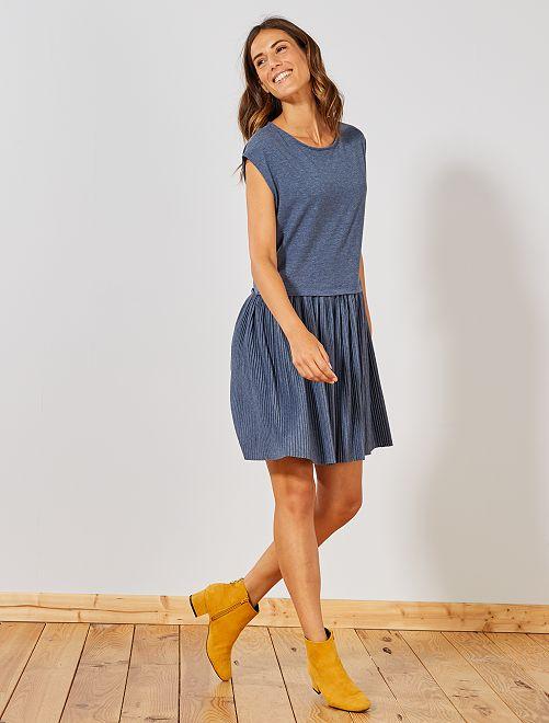 Robe avec jupe plissée                             bleu Femme