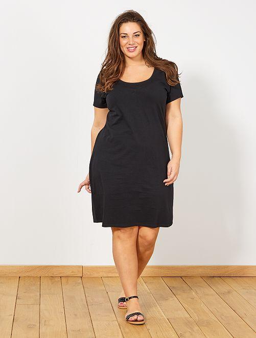 Robe basique en maille                             noir Grande taille femme