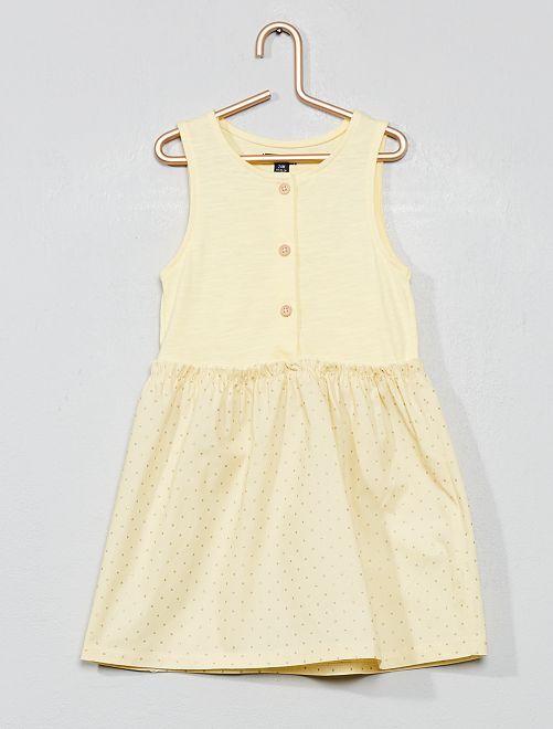 Robe bi-matière                             jaune