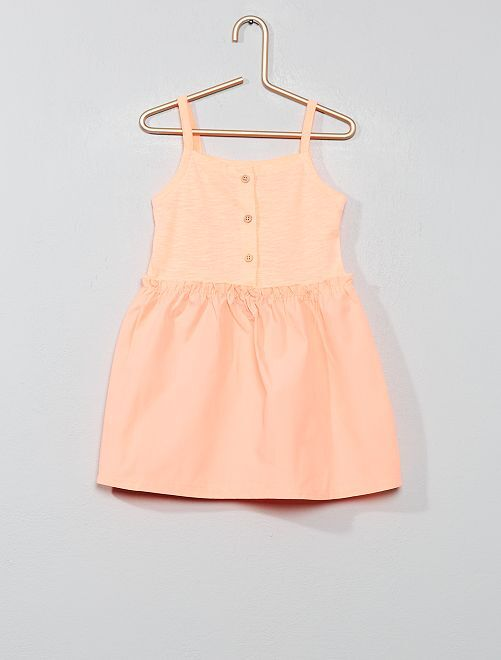 Robe bi-matière                                         orange fluo Bébé fille
