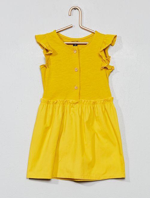 Robe bi-matière volantée                                         jaune Bébé fille