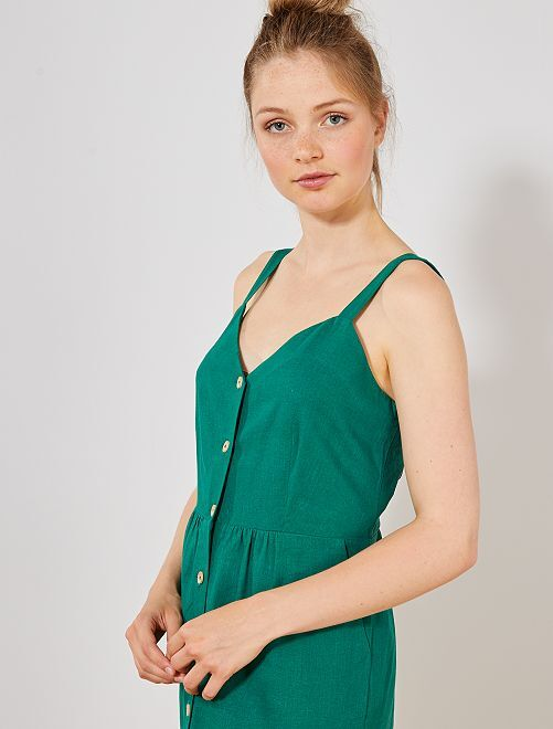 Robe boutonnée à bretelles                             vert