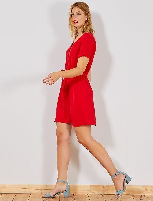 Robe boutonnée avec ceinture                                                     rouge Femme