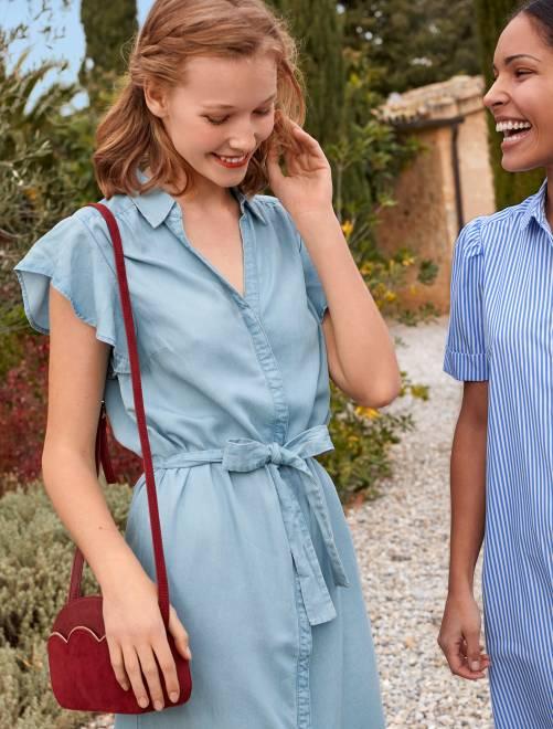 Robe boutonnée en denim bleu Femme