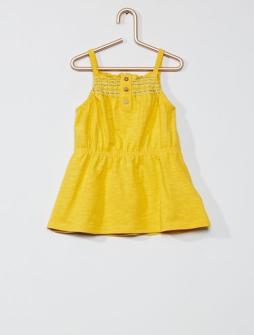 Robe brodée à smocks                                                     jaune