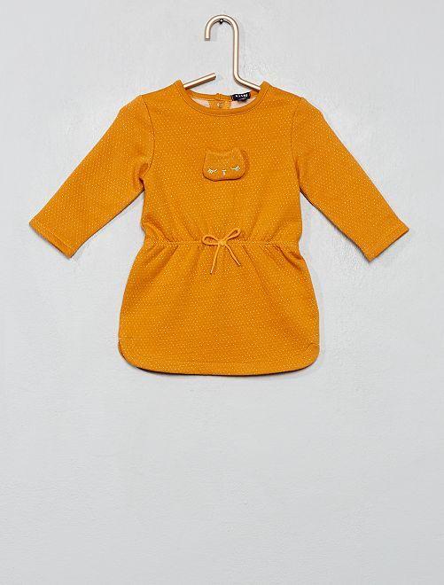 Robe brodée imprimée                                                                             jaune