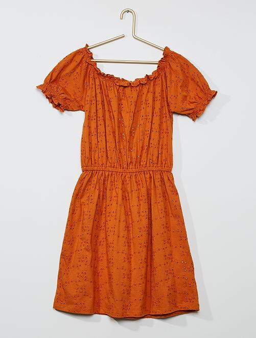 Robe broderie anglaise                             orange