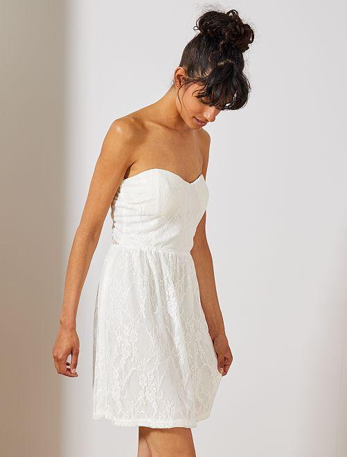 Robe bustier en dentelle                                         blanc Femme