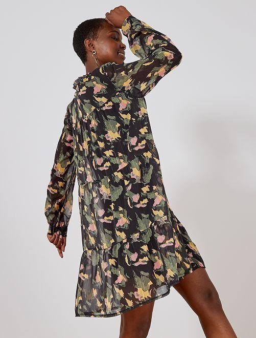 Robe camouflage en voile                             vert Femme