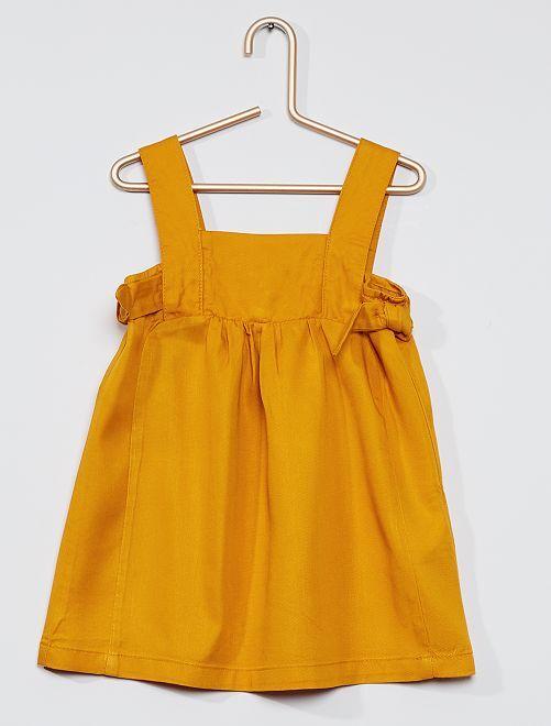 Robe cérémonie tencel                             jaune moutarde