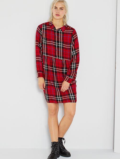Robe chemise à carreaux                                                                                                                 carreaux rouge