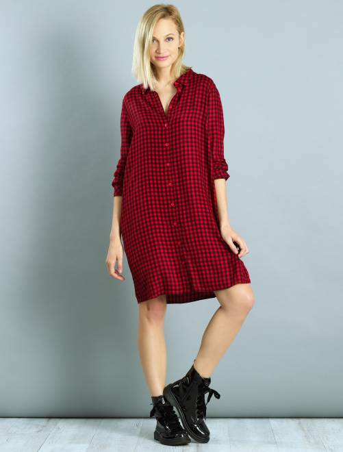 Robe chemise à carreaux rouge Femme