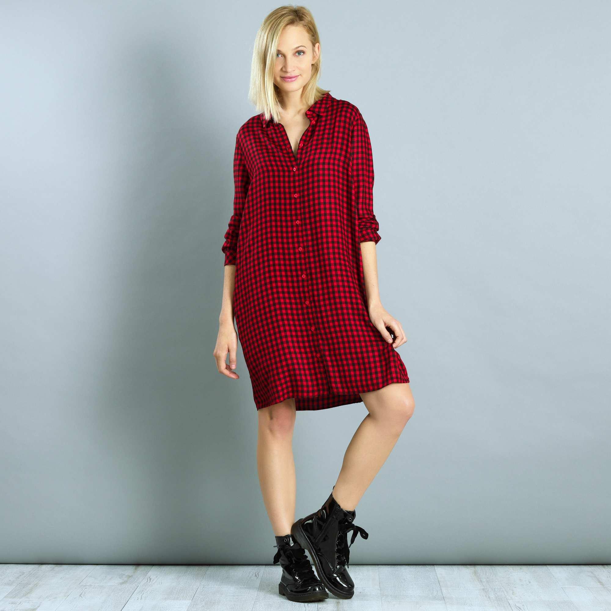 robe chemise carreaux femme rouge kiabi 18 00. Black Bedroom Furniture Sets. Home Design Ideas