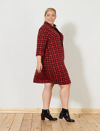 Grande taille femme - Robe chemise à carreaux - Kiabi