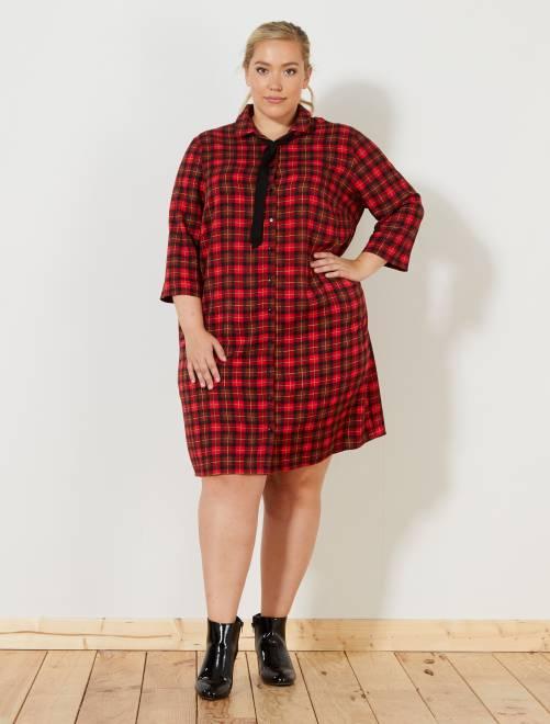 Robe chemise à carreaux rouge Grande taille femme
