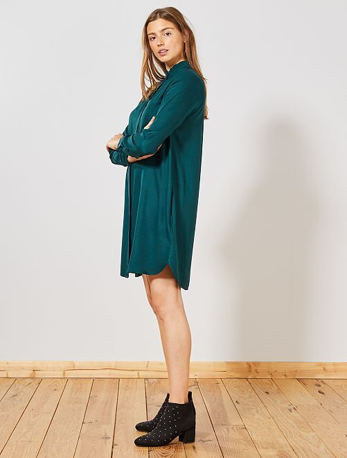 Robe chemise à pois                                         vert