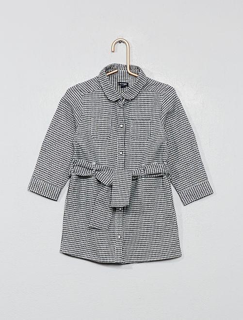 Robe chemise aspect flannelle                                                     pied de poule
