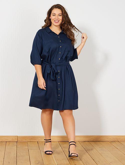 Robe chemise avec ceinture                             bleu marine Grande taille femme
