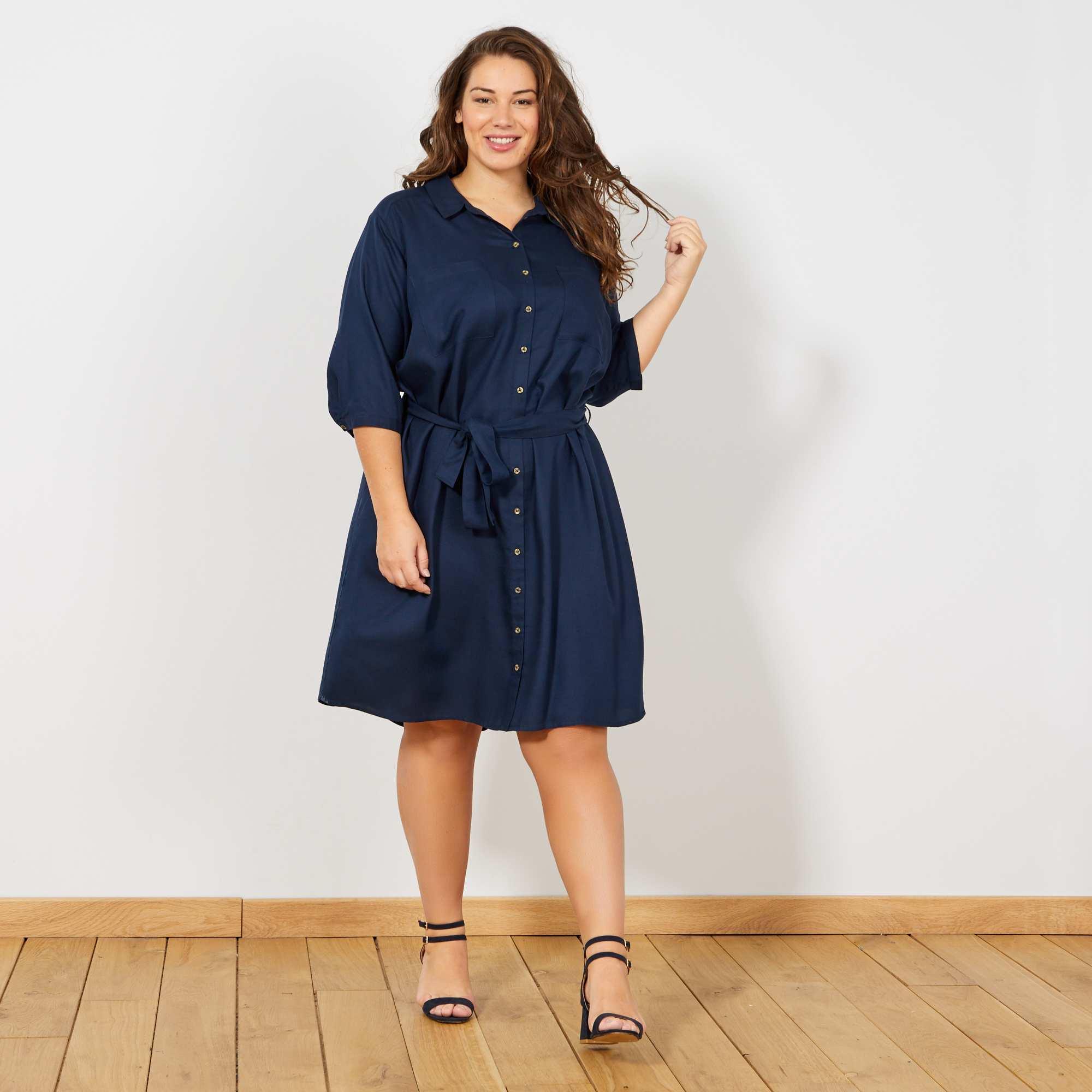 38d8558d012 Robe chemise avec ceinture Grande taille femme - bleu marine - Kiabi ...
