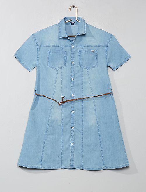 Robe chemise avec ceinture tressée                             denim Fille