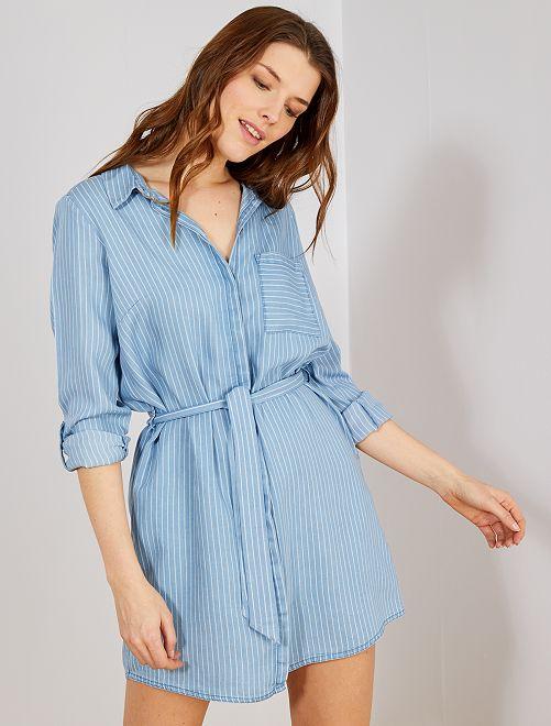 Robe chemise ceinturée                                         bleu
